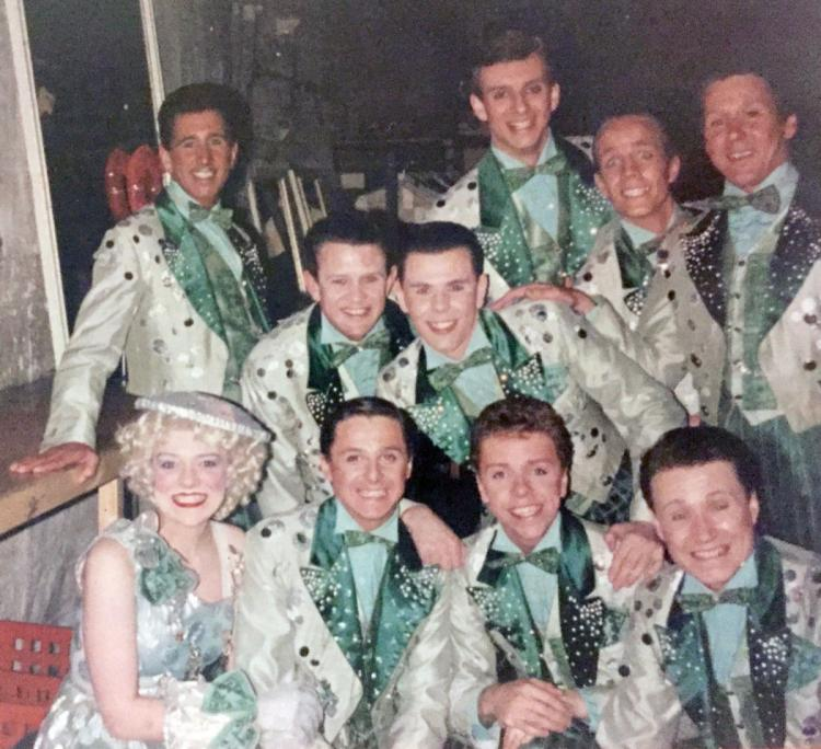 Original cast 42nd Street backstage at Drury Lane waiting to perform 'We're in the money'