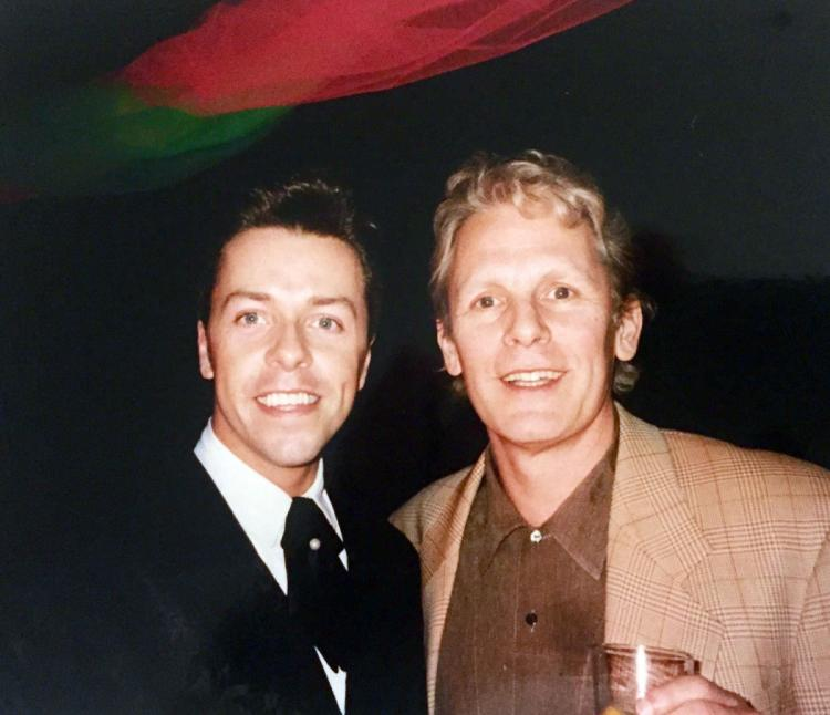 Producer (Paul Nicholas) and me at a Grease gala promotion night