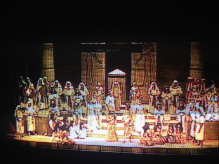 Watching my staging of the International tour of AIDA from the backstage monitor