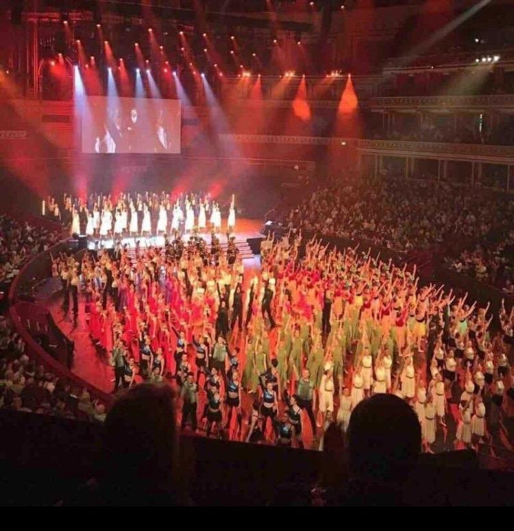 Shot taken from the upper boxes at the Royal Albert Hall.So proud to see my work come to life and watch the patterns from up here...