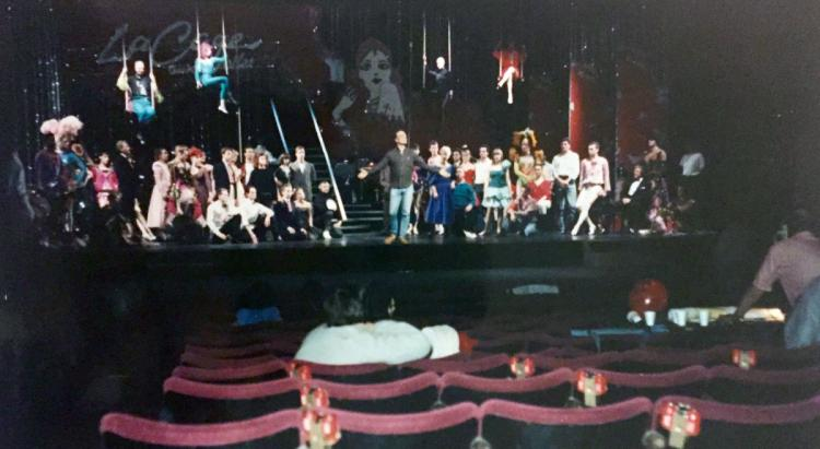 Dress rehearsal for La Cage Aux Folles at the Palladium Theatre, London.Im on the top right trapeze in red